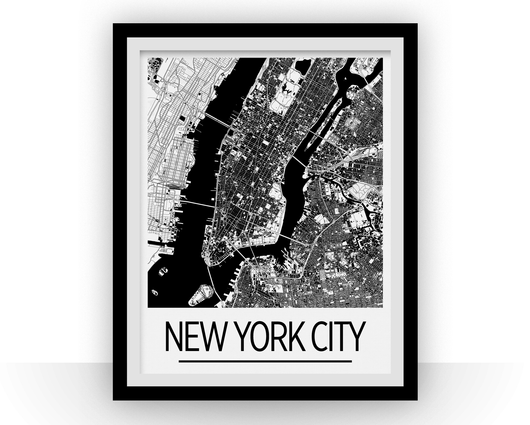 Affiche cartographique de New York City - Style Art Déco
