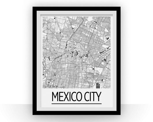 Affiche cartographique de Mexico City - Style Art Déco