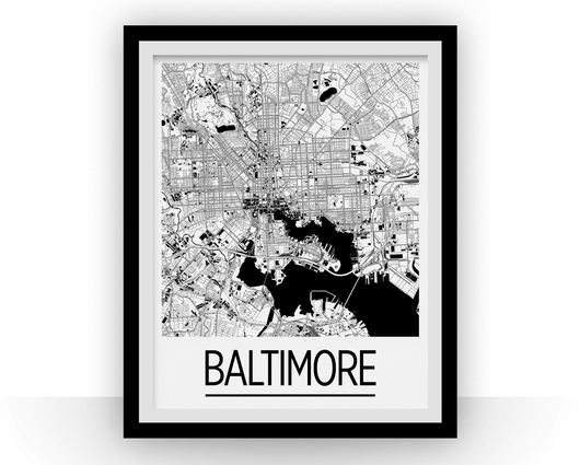 Affiche cartographique de Baltimore - Style Art Déco