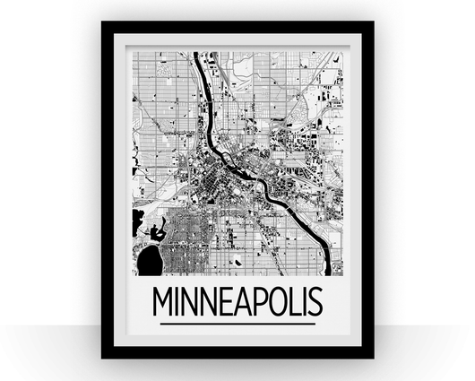 Affiche cartographique de Minneapolis - Style Art Déco