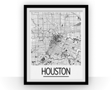 Affiche cartographique de Houston - Style Art Déco