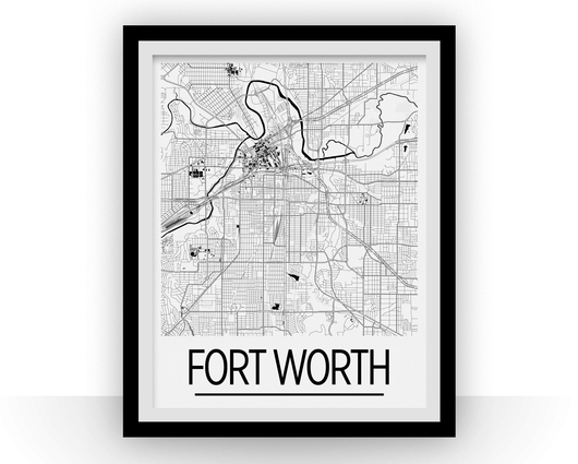 Affiche cartographique de Fort Worth - Style Art Déco