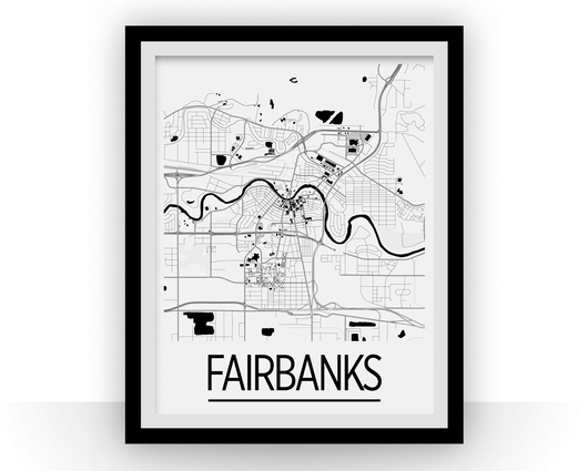 Affiche cartographique de Fairbanks - Style Art Déco