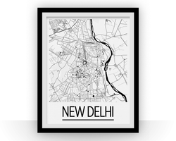 Affiche cartographique de New Delhi - Style Art Déco