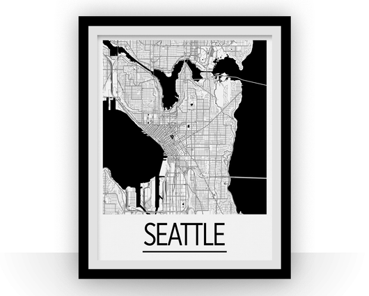 Affiche cartographique de Seattle - Style Art Déco