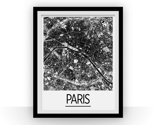 Affiche cartographique de Paris - Style Art Déco