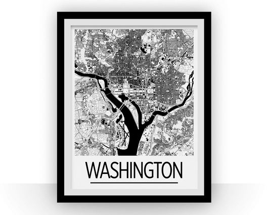 Affiche cartographique de Washington DC - Style Art Déco