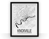Affiche cartographique de Knoxville - Style Art Déco