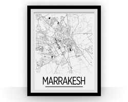 Affiche cartographique de Marrakesh - Style Art Déco