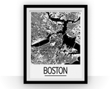 Affiche cartographique de Boston - Style Art Déco