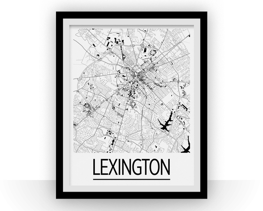 Affiche cartographique de Lexington - Style Art Déco