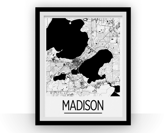 Affiche cartographique de Madison - Style Art Déco