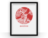 Affiche cartographique de Boston - Style OMap