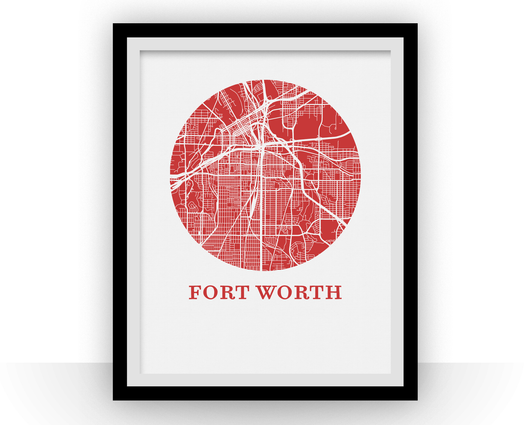 Affiche cartographique de Fort Worth - Style OMap