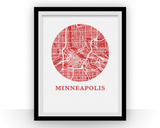 Affiche cartographique de Minneapolis - Style OMap