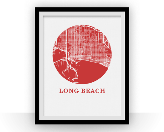 Affiche cartographique de Long Beach - Style OMap