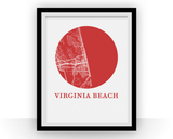 Affiche cartographique de Virginia Beach - Style OMap