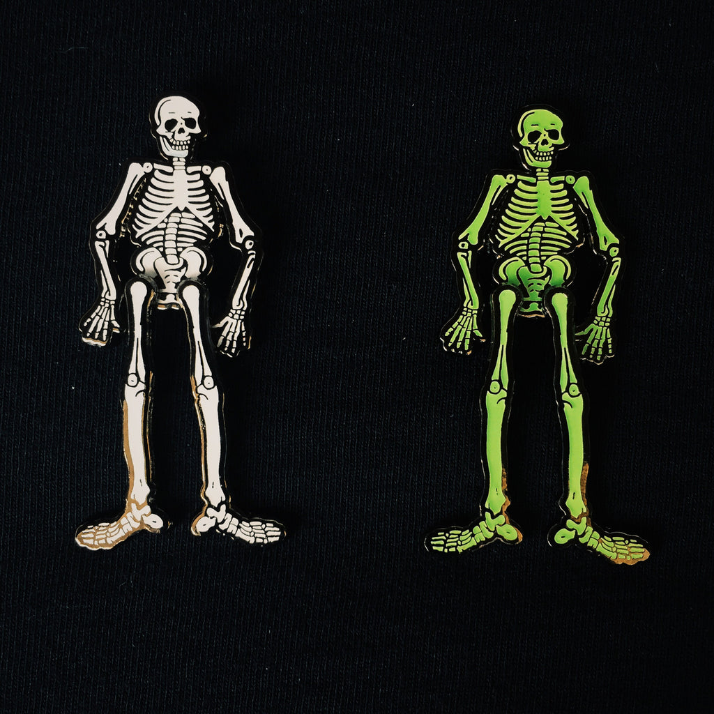 "MR. BONES 2"" glow in the dark dangle hard enamel pin"