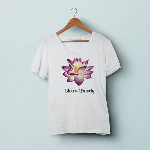 BLOOM BRAVELY Lotus V-Neck Tee-Shirt