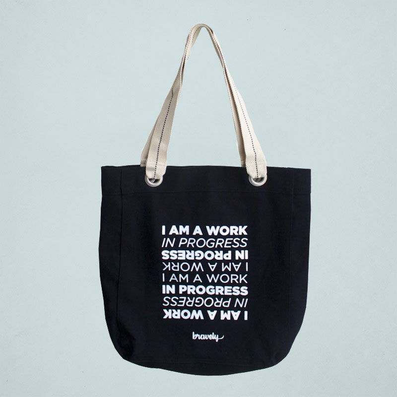 Work In Progress- Black Tote Bag
