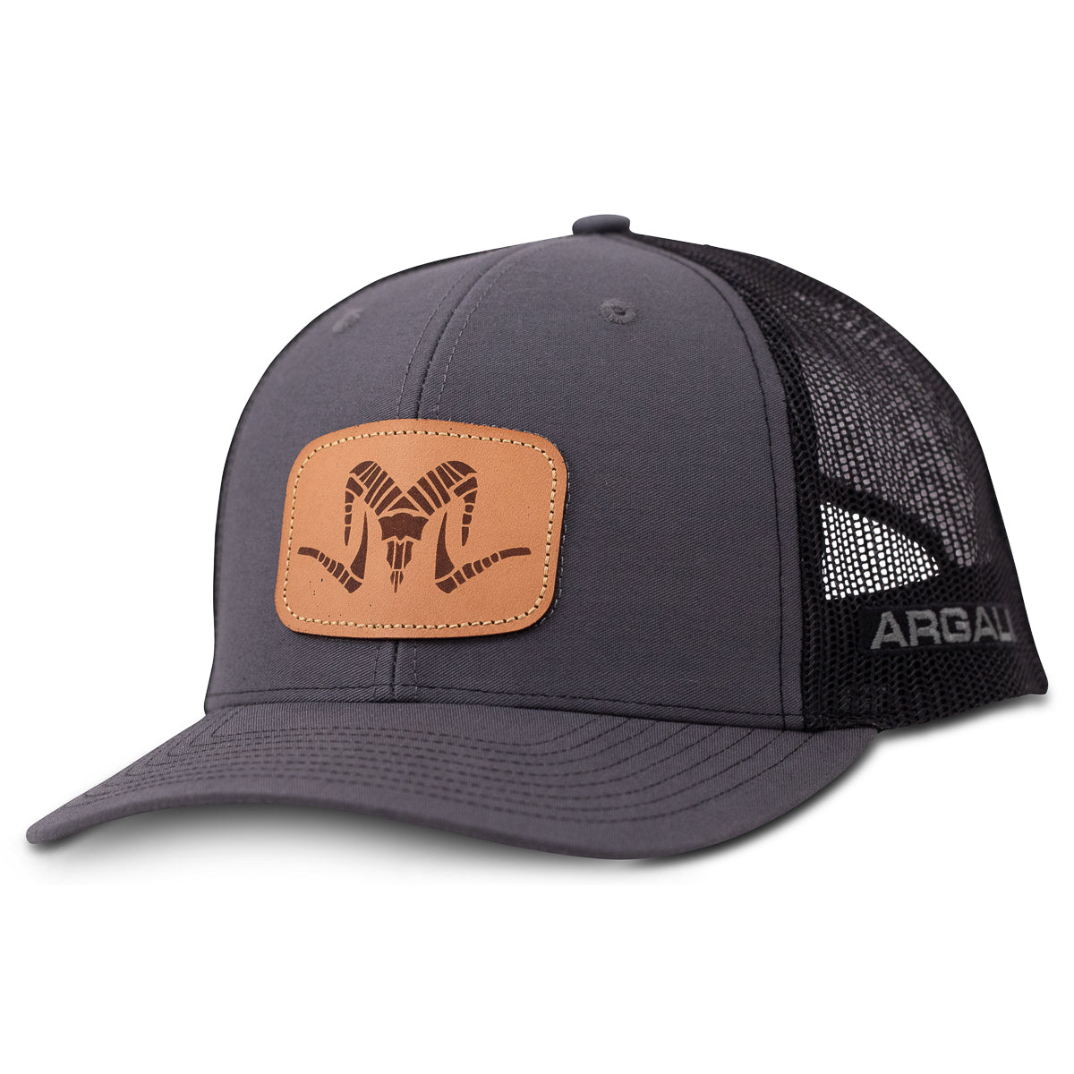 Argali Leather Patch Grey Front Hat