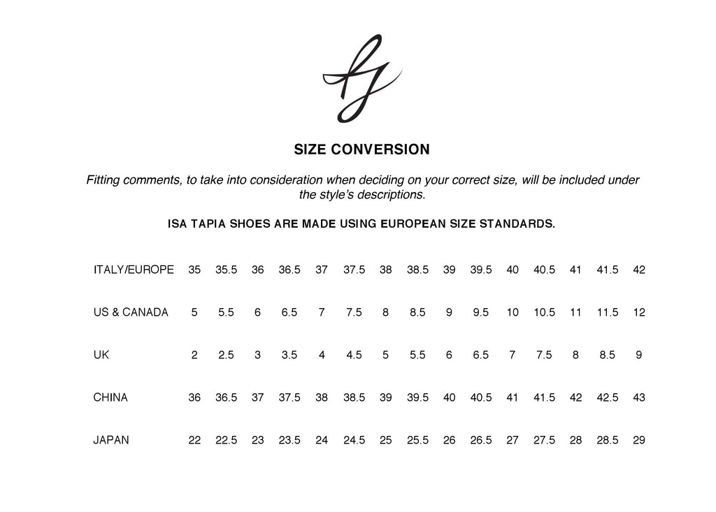 size conversion isa tapia