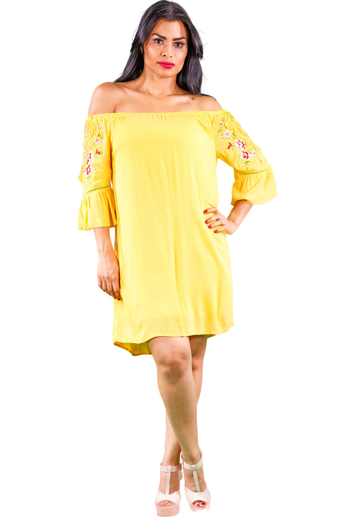 7fdf4da2f1a0 Yellow Off The Shoulder Dress with Long Sleeve Floral Detailing -  wynwoodcouture.com