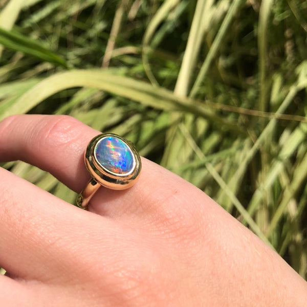 CUSTOM BLACK OPAL BUBBLE RING