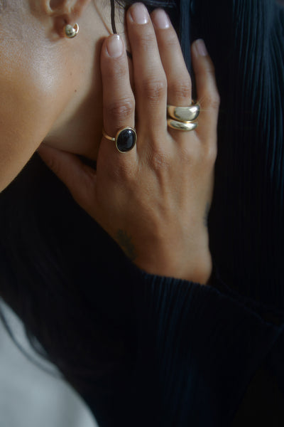 EGG RING- BLACK ONYX