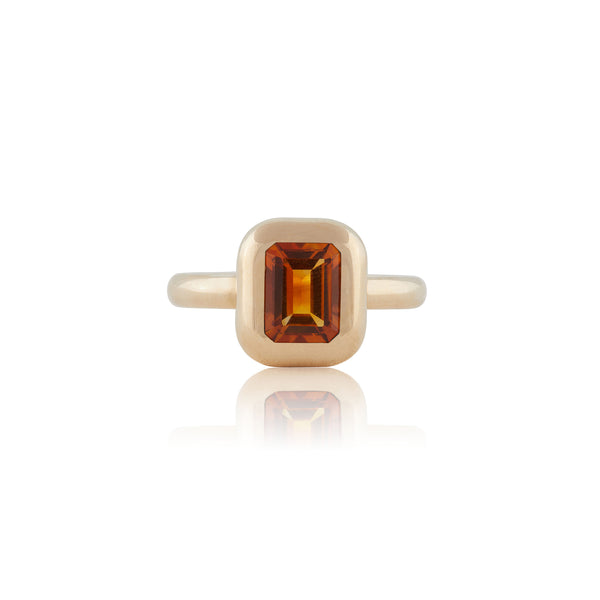 BUBBLE EMERALD CUT CITRINE RING