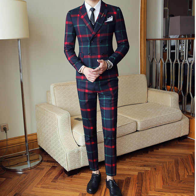 3 PIECE DOUBLE BREAST PLAID SUIT