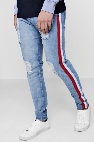 SLIT DENIM BURNT JEAN
