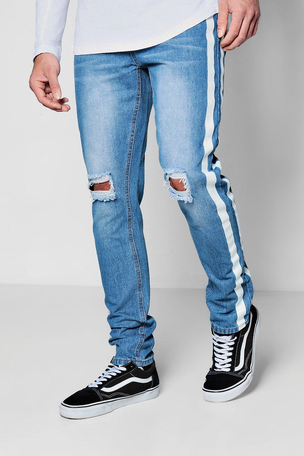 STRIPE DENIM DISTRESS JEAN