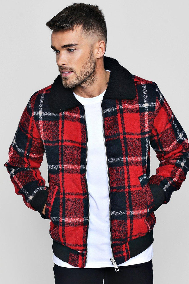 FUR CHECKERED TRUCKER JACKET
