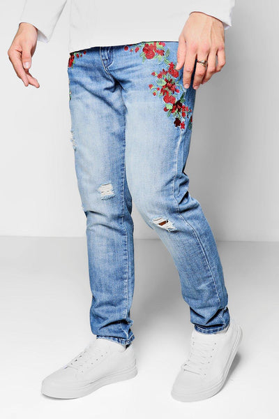 EMBROIDERY FLORAL PATCH DENIM