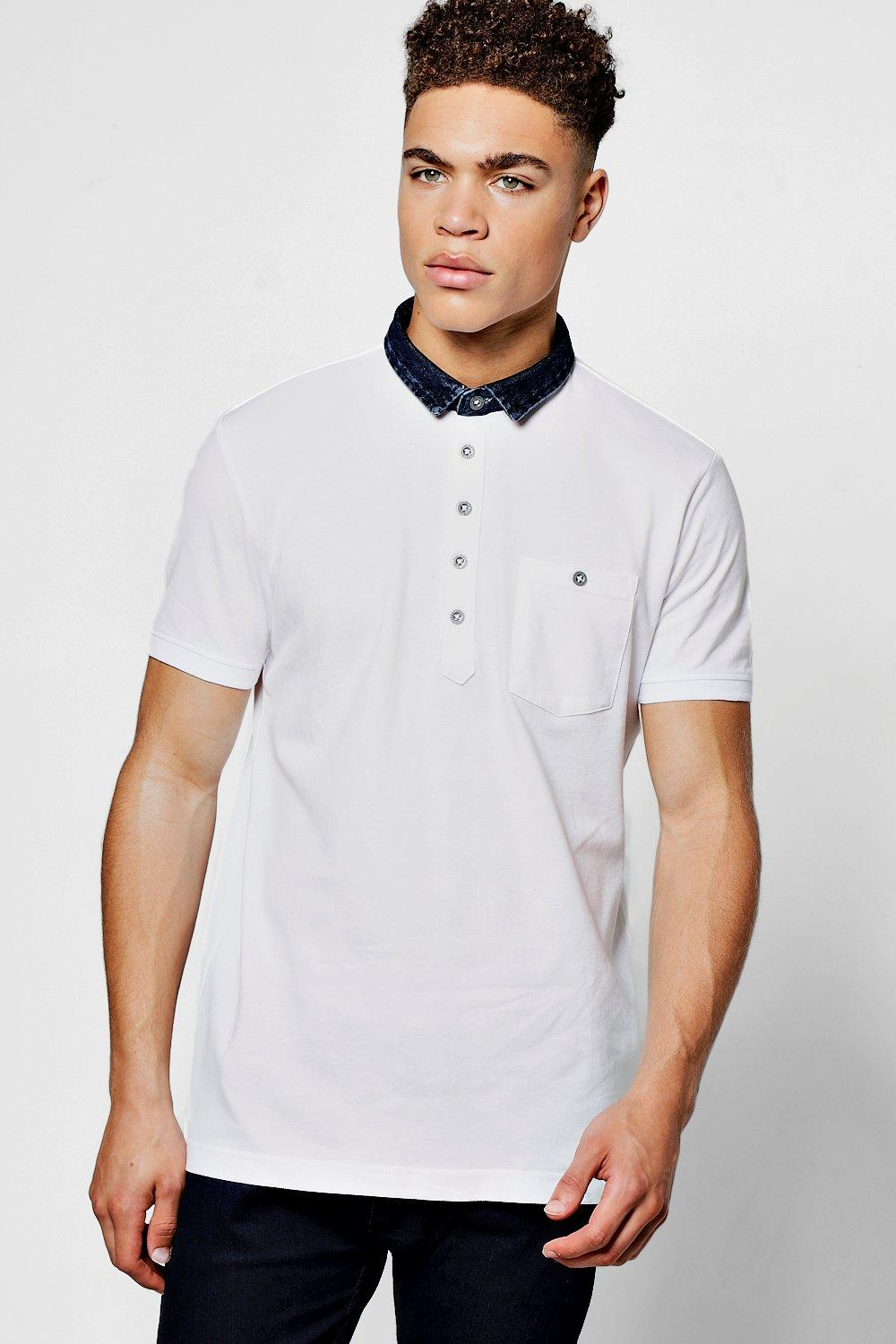 DENIM COLLAR POLO