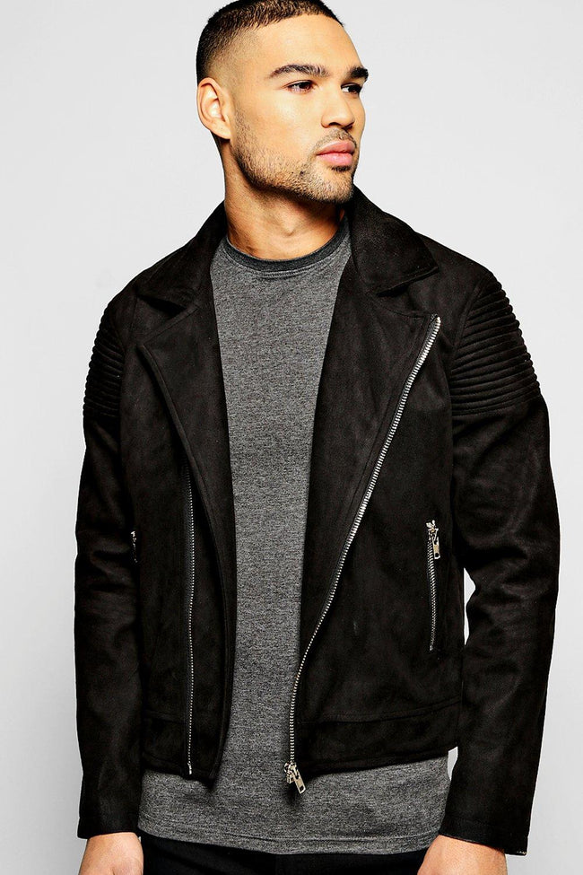 SUEDE BIKER JACKET / COLLARLESS BIKER JACKET