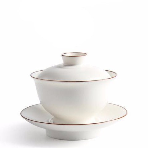 White Porcelain Gaiwan Tea Set 10 Pieces