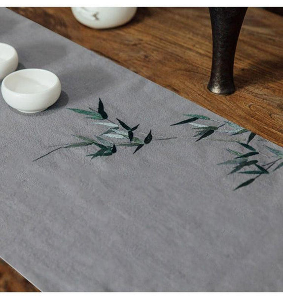 Bamboo Embroid Tea Table Runner
