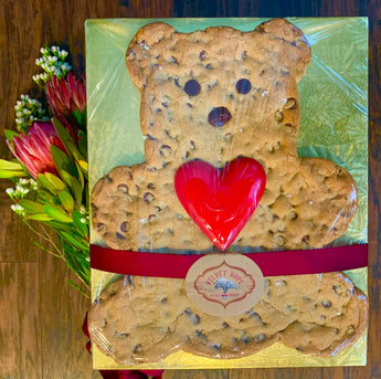 Giant Salted Chocolate Chip Teddy Bear with Heart