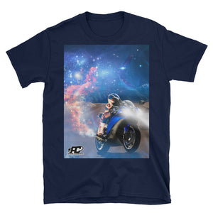Front shot of navy blue motorcycle t-shirt with REVBORN design