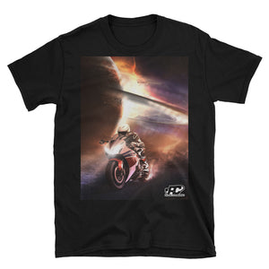 Front shot of black motorcycle t-shirt with GRANDESCAPE design