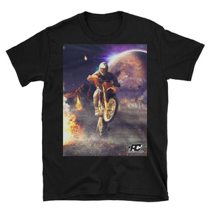 Front shot of black motorcycle t-shirt with WILDWHEEL design