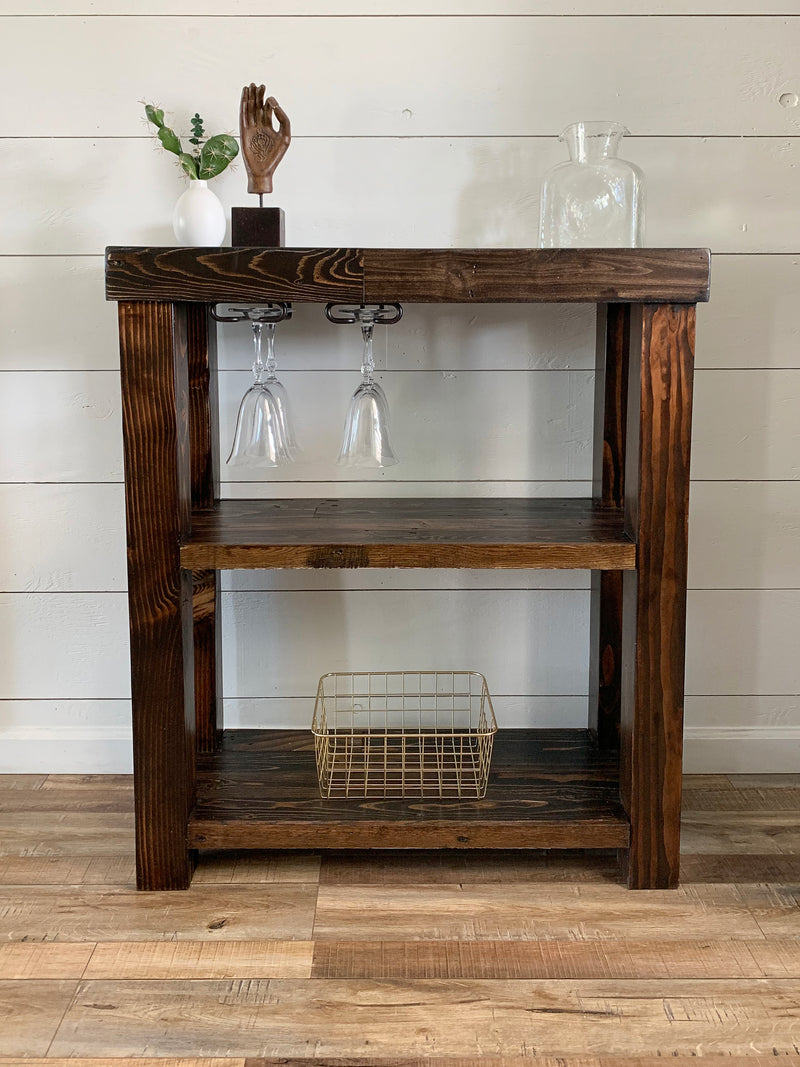 Reclaimed Wood Bar Server Cart - Kase Custom