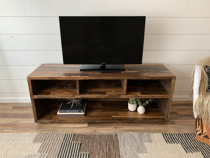 Reclaimed Wood Three-Compartment TV Stand Media Console - Kase Custom