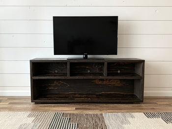 Reclaimed Wood Three-Compartment TV Stand Media Unit - Kase Custom