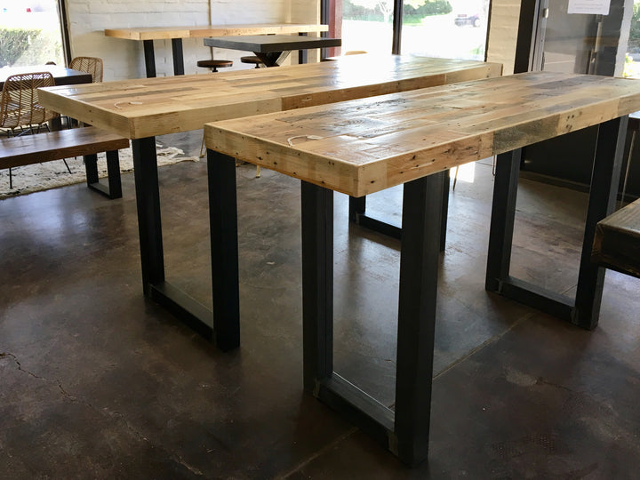 Modern Reclaimed Wood Community Bar Table with Steel U-Shape Legs in Natural