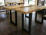 Modern Reclaimed Wood Community Bar Table with Steel U-Shape Legs in Espresso