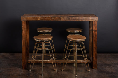 Reclaimed Wood Community Bar Restaurant High Top Table in Provincial - Kase Custom