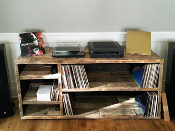 natural reclaimed wood record media music console